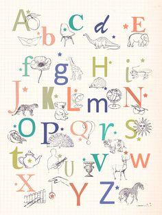 Retro Alphabet Poster for Children - ABC print - LAffiche Moderne
