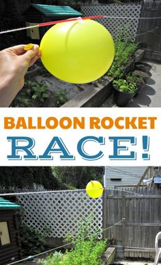Off with An Amazing Balloon Rocket Experiment Balloon rocket race experiment for kids. Indoor or outdoor science activity!Balloon rocket race experiment for kids. Indoor or outdoor science activity! Summer Science, Science Party, Preschool Science, Science Fair, Science For Kids, Fun For Kids, Space Games For Kids, Science Space, Stem Science