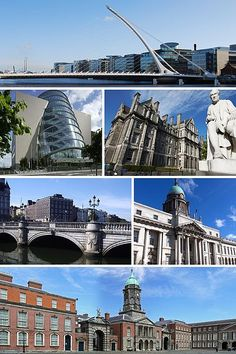 Samuel Beckett Bridge,  Convention Centre, Trinity College, O'Connell Bridge, The Custom House, Dublin Castle.