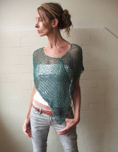 Emerald green summer poncho.  of Ileaiye on Etsy. __ rectangular piece