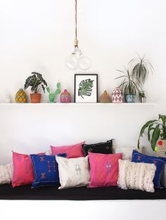 Colorful cactus silk kilim Pillows from Morocco, available online. From Baba Souk