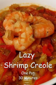 Lazy Shrimp Creole is an easy one-pot dish you can whip up in 30 minutes. Serve over rice or to keep it low carb, dish it up straight from the pot. via /RobinFollette/ Cajun Recipes, Seafood Recipes, Crockpot Recipes, Cooking Recipes, Shrimp Creole Recipes, Dinner Recipes, Louisiana Recipes, Paleo Meals, Healthy Recipes