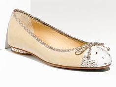Alexandre Birman Nude and Snakeskin Flat. Genius detail on the heal.