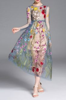 Lady Eyes Colormix Cami Dress And Flower Embroidery Gauze Dress Twinset | Midi Dresses at DEZZAL