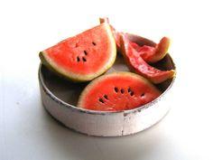 Watermelon Pieces Miniature in 1:12 by Erzsébet Bodzás IGMA Artisan