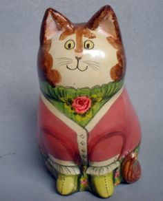 "PAPIER MACHE   CAT  FIGURE     MARKED TO BASE  ""SPECIAL PIECE"" FOR P H WILSON BOUTIQUE, BY JOAN & DAVID de BETHEL AT RYE, SUSSEX, ENGLAND 1976.   HEIGHT 4.5"" (11cm)"