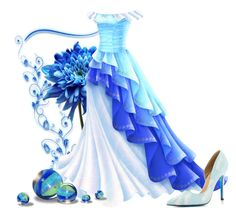 """""""Blends of Blue"""" by jeannierose ❤ liked on Polyvore featuring art"""