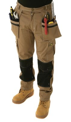 Mens Heavy Duty Contrast Cargo Holster Pocket Work Trousers By SITE KING 009
