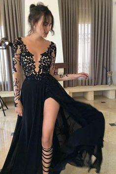 Black Long Sleeves Split Sexy See Through V Neck Long Prom Dresses, PM0133