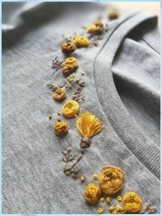 Hand MONOCHROME floral collar embroidered organic cotton t shirt # . - Hand MONOCHROME floral collar embroidered organic cotton t-shirt colla - Hand Embroidery Videos, Embroidery On Clothes, Flower Embroidery Designs, Simple Embroidery, Embroidered Clothes, Hand Embroidery Stitches, Ribbon Embroidery, Embroidered Flowers, T Shirt Embroidery