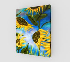 """Canvas+""""Vibrant+Sunflowers+11+x+14""""+by+Karen+June+Booth"""