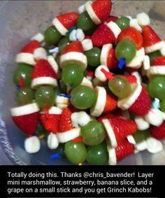 Grinch kabobs - kids Christmas snack