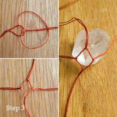 Easy Macrame Crystal Pendant, - Easy Macrame Crystal Pendant, Easy M - Diy Jewelry To Sell, Diy Jewelry Tutorials, Jewelry Crafts, Handmade Jewelry, Jewelry Making, Diy Jewelry Yarn, Vintage Jewelry, Jewelry Knots, Handmade Wire