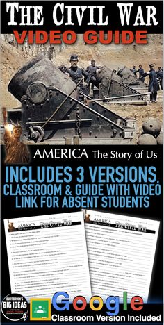 The Civil War Video Guide teaches students about the American Civil War through the 50 minute video, from the America, Story of Us series. Two versions of the video guide are included. One for regular classroom viewing and another that includes the video weblink for distance learning and absent students. This can be used in class or as homework as it's a completely stand alone assignment.   #HistoryLessonPlans #socialstudies #AmericanHistory #USHistory Teaching American History, American History Lessons, Teaching History, Us History, Absent Students, History Lesson Plans, 5th Grade Classroom, Teaching Social Studies, Homework