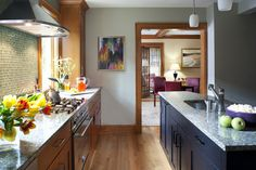 wood stain trim with gray walls | What is the wall color. It is beautiful with the wood trim. - Houzz