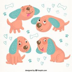Lovely dog in four postures Free Vector
