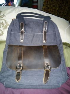 Test + Try =Results : Amatory Unisex Retro Vintage Genuine Leather Canvas Backpack