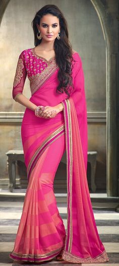 182512 Pink and Majenta  color family Embroidered Sarees, Party Wear Sarees in Faux Chiffon fabric with Lace, Machine Embroidery, Resham work   with matching unstitched blouse.