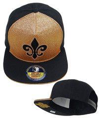 15f3b22ddb6 New Orleans Saints Snapback Hat Fleur De Lis Baseball Cap NFL Football Team  Black Snapback