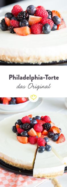 Im Sommer gibt es nur eine Torte, die wir aus dem Kühlschrank holen, die Philadelphia-Torte. Mit Frischkäse und Joghurt - wie es das Original verlangt.