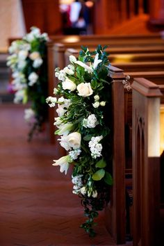 Church Decorated with White Lilies and Roses church wedding A Formal Southern Wedding in Savannah, Georgia Church Wedding Flowers, Wedding Pews, Wedding Isles, Dress Wedding, Fall Wedding, Pew Decorations, Church Wedding Decorations, Church Ceremony, Church Pews