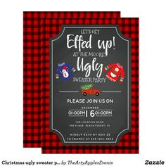 Christmas ugly sweater party fundraiser event invitation Tartan Christmas, Ugly Christmas Sweater, Christmas Themes, Fundraiser Event, Fundraising Events, Holiday Parties, Holiday Fun, Holiday Cards, Holiday Party Invitations