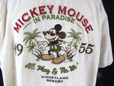 Mickey Mouse In Pardise XL Short Sleeve Shirt Embroidered Disneyland Resort EUC #DisneyResort #ButtonFront