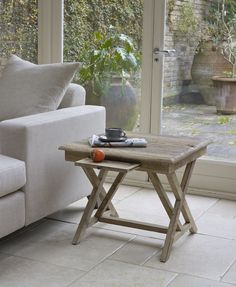 Baya side table - Hand crafted, solid reclaimed elm, distressed style furniture from Lombok