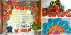 window crochet flower power col