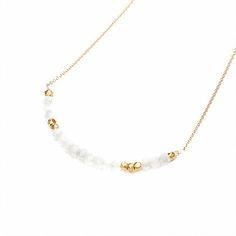 """JULIA SZENDREI MOONSTONE MORSE CODE NECKLACE June's Birthstone. 17.5"""" set length 14K gold filled chains. Natural Moonstone paired with gold bronze beads. Dits and Dashes represent the Morse Code of your choice. LOVE, JOY, BLESSED, FAMILY, XOXO, STRENGTH. Shop Now www.juliaszendrei.com"""