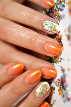 nail art plume aquarelle