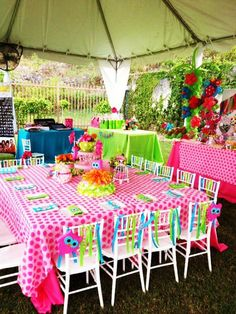 Owl Party_ I love the pink polka dot table cloth & streamers on the chairs