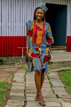 The Ibadan Ankara Agbada Dress&Matching Cap for Women, The Ibadan Agbada Dress, Dashiki Dress, Embroidered African Dress and Cap for Women. African Print Dress Designs, African Print Dresses, African Print Fashion, Africa Fashion, African Fashion Dresses, African Dress, African Clothes, African Prints, African Attire