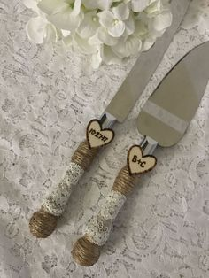 Rustic Cake Knife Set Wedding Accessory Burlap Cake Knife
