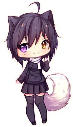 Commission - Sweet smile by Hyanna-Natsu (DeviantArt) Kawaii Anime, Art Kawaii, Kawaii Chibi, Cute Chibi, Cute Anime Character, Cute Characters, Anime Characters, Kitten Drawing, Manga Drawing