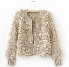 "Crochet ""fur"" made with loops...large paillettes are threaded onto yarn before crocheting"