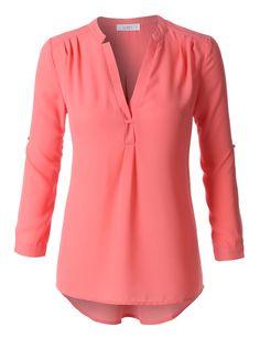 LE3NO Womens Flowy Long Sleeve Semi Sheer Chiffon Blouse Top