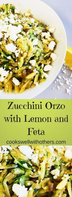 Zucchini Orzo with Lemon and Feta - Make with rice instead of orzo pasta Orzo Recipes, Vegetarian Recipes, Cooking Recipes, Healthy Recipes, Vegetarian Cooking, Easy Cooking, Recipes Dinner, Feta Pasta, Zucchini Pasta