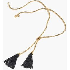 J.Crew Tassel Lariat Necklace ($52) ❤ liked on Polyvore featuring jewelry, necklaces, lariat tassel necklace, tassle necklace, tassel jewelry, tassel necklace and tassel chain necklace