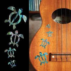 Honu Family Inlay Stickers Decals – Inlay Stickers Jockomo. Make your ukulele pretty