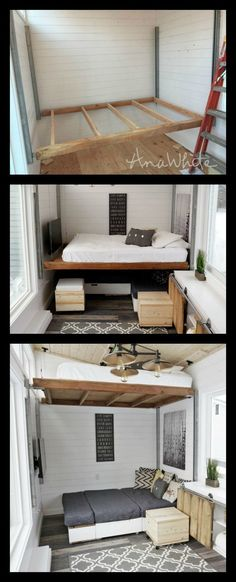DIY elevator bed for small house (Ana White) bed # .- DIY elevator bed for small house (Ana White) bed – home – bed - Small House Diy, Tiny House Living, Tiny House Design, Tiny House Office, Home Design Diy, Small Houses, Design Design, Modern Design, Living Room