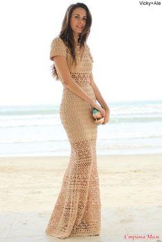 """Ажурное длинное платье """"LILLY"""" от бразильского дизайнера Lilly Sarti, крючком + схема."""