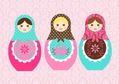 Matryoshka/Nesting Dolls 5x7 art print you choose by kayleeshope, $10.00
