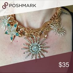 """""""Ariel"""" Seashell Crystal Statement Necklace What a beauty! Gold mesh that acts like netting to gently hold shells and starfish. A one of a kind piece! Approximate measurements; chain length 15"""" with a 3"""" extender. Center piece design is 2""""x2"""". Bedecked & Bedazzled Jewelry Necklaces"""