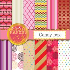 Valentines digital paper 'candy box' valentines day background printables. 12 sweet candy digital papers