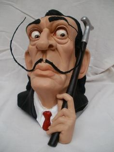 SALVADOR  DALÍ by CONSTANTINOS  LC   terracotta, metal wire and acrylic paint
