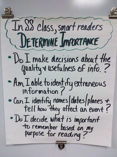 """Determining Importance"" Anchor Chart (Social Studies)"