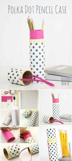 #Reciclando los rollos gastados del papel de cocina, podemos crear con los #niños un estuche para lápices así de original.