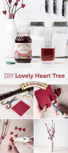 Fall in love with a charming DIY Heart Tree this Valentine's Day. Glue tiny paper hearts to a handful of thin twigs. Display in a small white vase for a cute accent or a lovely gift. XO!