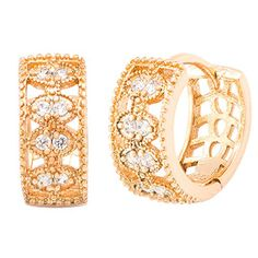 awesome Romantic Time Womens Attraction Sweet Pierced Elegant Hollow Compact Diamond Earrings